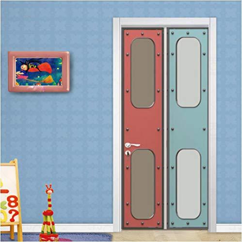 ZPCR Modern Creative Door Sticker Children's Bedroom Study Room Vinyl Door 3D Murals Self-Adhesive Waterproof 3D Wall Sticker Poster