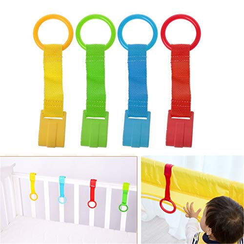 4pcs Baby Crib Pull up Rings Baby Walking Assistant Stand Up Rings Crib Hanging Rattle Toys for Infant Baby Toddler