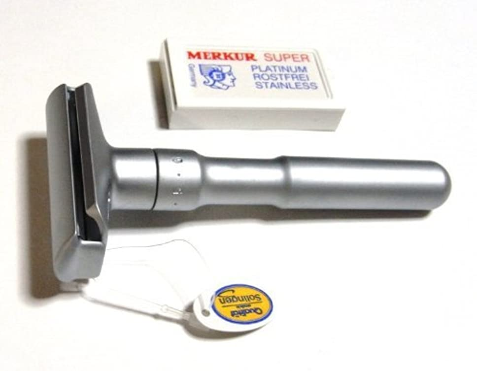 肌ストラップ汚染されたメルクールMERKUR(独) 髭剃り(ひげそり)両刃ホルダーFUTUR 700S 角度調節機能付 サテン(替刃10+1枚付)