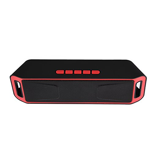 Wendry Draadloze bluetooth-luidspreker, Bluetooth 4.0-luidspreker, stereo-bas-subwoofer-ondersteuning, TF-kaart, USB, AUX FM-radio, microfoon, rood