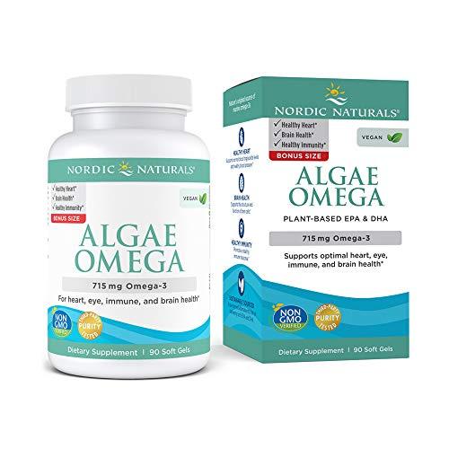 Nordic Naturals Algae Omega - 715 mg Omega-3-90 Soft Gels - Certified Vegan Algae Oil - Plant-Based EPA & DHA - Heart, Eye, Immune & Brain Health - Non-GMO - 45 Serving