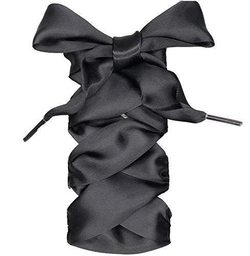 COOL LACE Satin Ribbon Shoelaces Flat Shoe Laces for Sneakers (37.4, Black)
