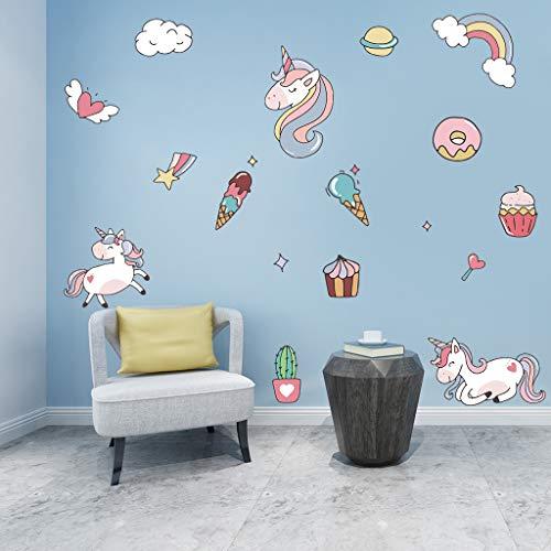 Leuke Cartoon Eenhoorn muur Stickers Gekleurde Ijs Dessert Muursticker voor Kinderen Kamers Kinderkamer Thuis Decor