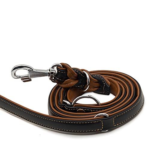 MICHUR Classica Twist - Guinzaglio per cani, 2 m, in pelle, adatto per collare Classica, marrone nero, in pelle, regolabile in 3 posizioni