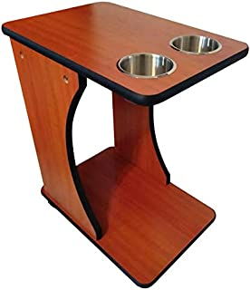 TheBestPokerSite.com Poker Side Tables - Cherry Color Drink Snack Food carts, casters Jumbo Cup Holders