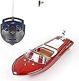 2.4GHz Radio Control de Radio Barco de Alta Velocidad Grano de Madera Clásico Control Remoto Yate Grande Recargable RC Speedboat Toy Professional 4 Canal 100m RC Distancia