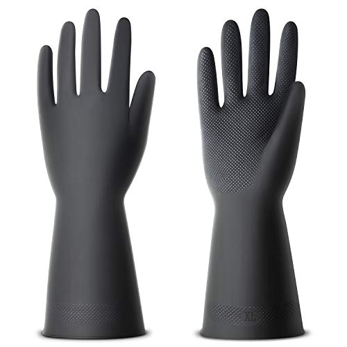 ThxToms Chemical Resist Latex Gloves,Work Heavy Duty Industrial for Industry Work,3 Pairs,Extral Large