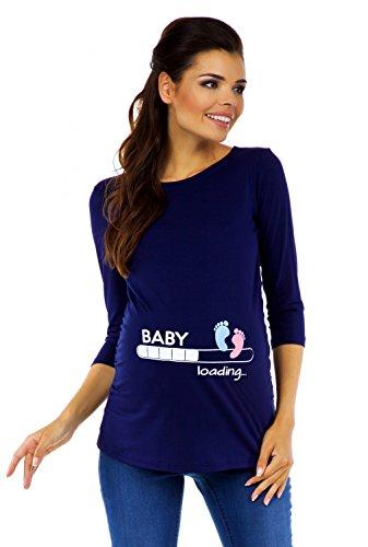 Zeta Ville - Damen Umstands-Oberteil Top T-Shirt Witzige Baby Loading Druck 549c, Marine, EU 38/40