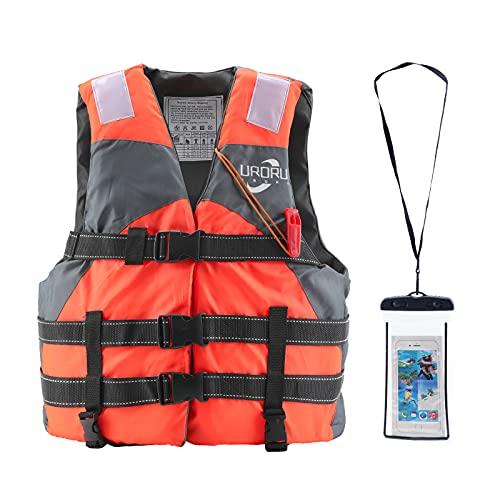 URORU ライフジャケット フィッシングベスト フローティングベスト 大人 子供 男女兼用 防水ケース スマホ用 釣り 漂流 海水浴 川遊び 湖 キャンプなどに最適
