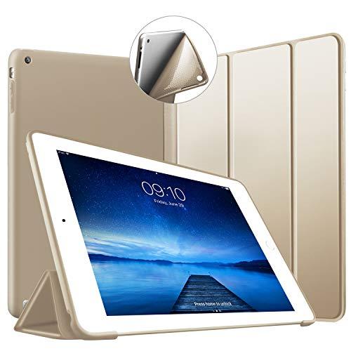 VAGHVEO Funda para iPad 2/3 / 4, Ultra Slim Protectora Silicona Smart Cover [Auto-Sueño/Estela] Cubierta Trasera de Silicona Suave TPU Case para Apple iPad 2, iPad 3, iPad 4 Tableta, Oro