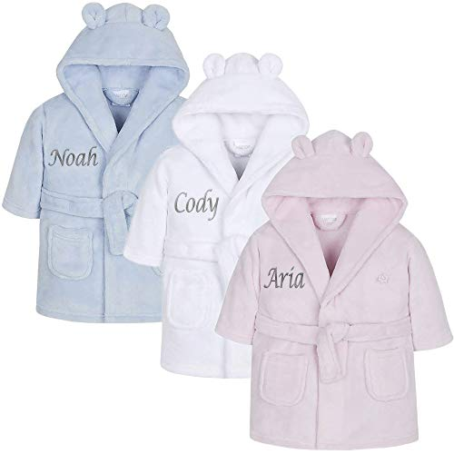 Personalised Baby Dressing Gown Baby Dressing Gown Baby Robe With Teddy Ears Baby Personalised Gifts White 18-24