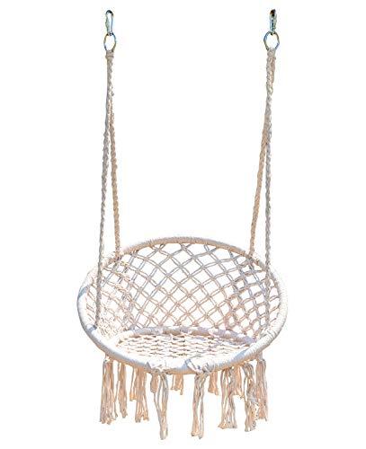 スイングチェア ハンモック ハンギングチェア ハンド編みマクラメ 吊り下げ式 大人&子供兼用 室内室外 バルコニー 親子 耐荷重100kg