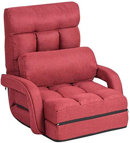 RELAX4LIFE Klappsofa, Bodensofa mit Schlaf- und Liegefunktion, klappbares Einzelsofa mit Armlehne & Rückenkissen, Klappsessel verstellbar, Bodenstuhlsofa gepolstert, Liegesessel für Haus & Büro (Rot)