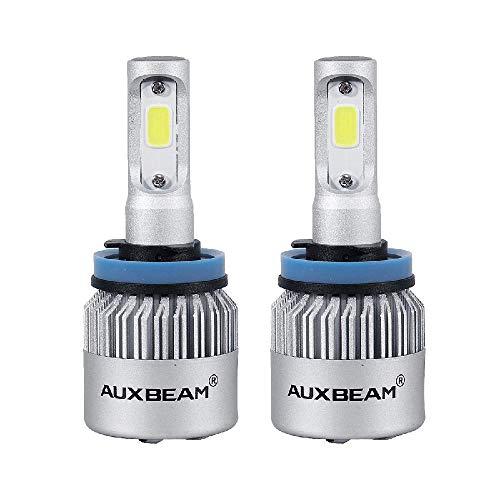 Auxbeam 2 x H11 LED Phares Voiture Ampoules Moto COB Lampe IP65 Etanche 75W 8000lm 6500K lumière Blanche Ampoules Remplacement pour HID Halogène Tout-en-un kit de conversion