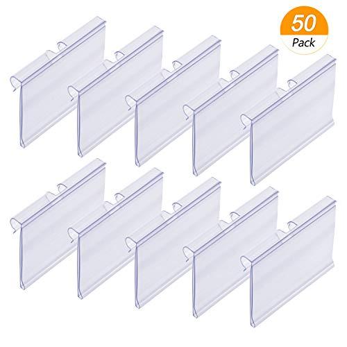 Meetory - Soportes de etiquetas de plástico transparente para estantes y archivadores, precio minorista, soportes para mostrar etiquetas (6 cm x 4 cm), 50 unidades