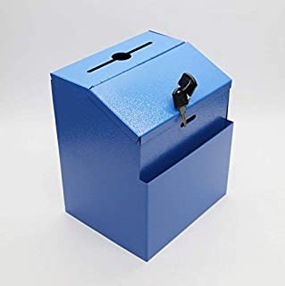 FixtureDisplays Blue Metal Donation Suggestion Key Drop Box Express Checkout Comments Sales Lead Box 11118-BLUE-FBA
