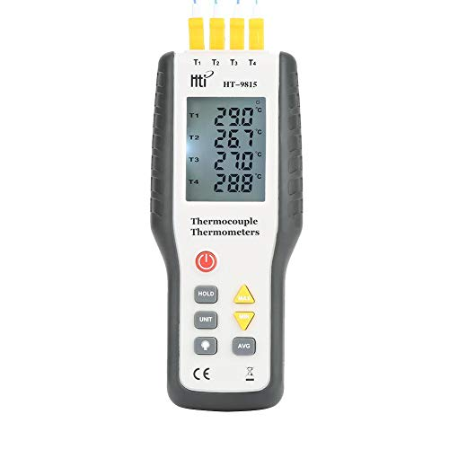 Akozon thermo-element thermometer, digitale HT-9815 4-kanaals K-type thermoelement sensor thermometer, LCD instant-Read thermometer temperatuurmeter met sensor sonde -328 ° F ~ 2501 ° F (- 200 ° C ~ 137
