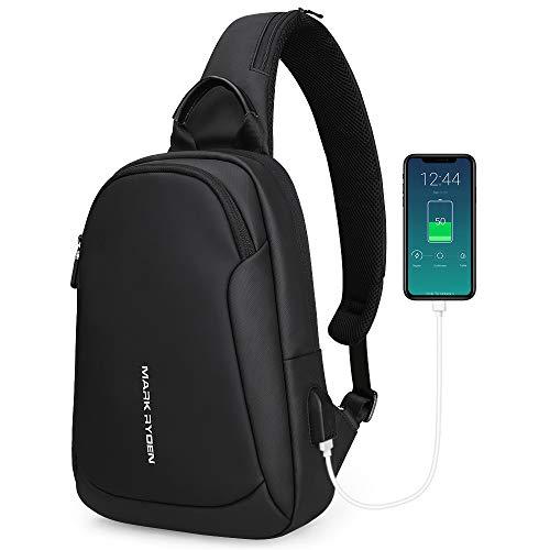 MARK RYDEN Anti-Vol Sling Épaule Cross Body Bag Sac à Dos Casual Day Pack avec USB Chargeur pour Hommes Femmes (Noir Nouveau)