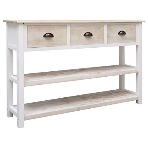 UnfadeMemory Sideboard Holz Kommode Konsolentisch Beistelltisch Paulownia- und Pappelholz Wohnzimmer Schlafzimmer Seitenschrank mit 3 Schubladen und 2 Fachböden 115 x 30 x 76 cm (Natur und Weiß)