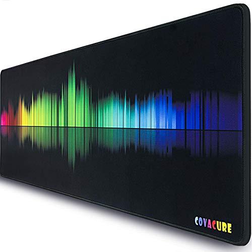 COVACURE Gaming Mauspad - 800 x 300 x 3mm XXL Mauspad Groß Schreibtischunterlage, Fransenfreie Ränder, Rutschfest, für Tastatur und Maus