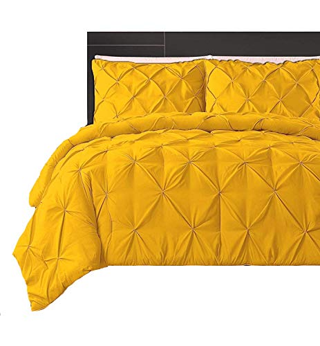 Bedding AS 800 Thread Count Pure, 100% Cotton 5-Piece Pinch Pleated-Duvet-Cover Set Luxurious Pintuck Home -Decorative with - Zipper - Closure & Corner - Ties(Gold -Oversized King)
