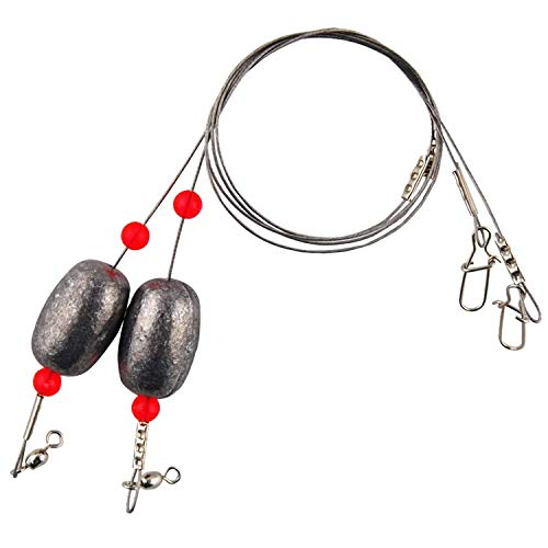 Easy Catch  Fishing Egg Sinker Weight Rigs 4pcs Ready Rigs with Sinker Fishing Swivel and Snap Connector Stainless Steel Fishing Leader Wire for Trout Flounder and Bottom Fish
