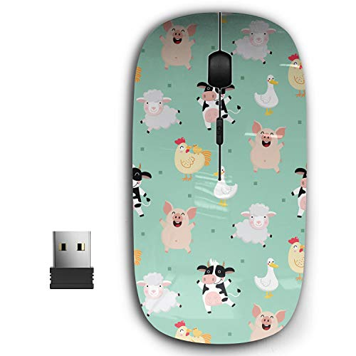 2.4G Ergonomic Portable USB Wireless Mouse for PC, Laptop, Computer, Notebook with Nano Receiver ( Farm Animal Cartoon Character )