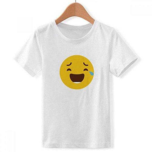 DIYthinker jongens lachen wijnen geel netter online C hoed emoji crew hals wit T-shirt