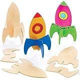 Baker Ross Cohetes de madera con soporte - Perfectos para decoraciones y...