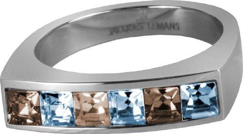 JACQUES LEMANS Ring besetzt mit Funkelnde Kristallen massiv Edelstahl Ringgröße 54 S-R46G54