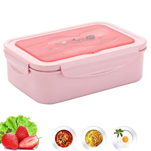 DERU Lunchbox, Brotdose, Auslaufsichere Lunch-Boxen, Bento-Box Mit 3 Fächern und Besteckse, Kein Auslaufen, Leicht zu reinigen, Mikrowelle Heizung, Geschirrspülerfest BPA frei (Rosa)