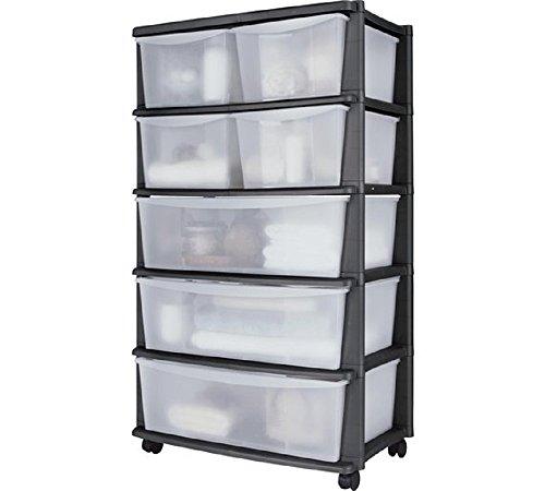 7 tiroirs en plastique large Coffre de rangement – Noir, monté sur roulettes pour facile à manipuler, Taille H103, w59, 39,5 m.