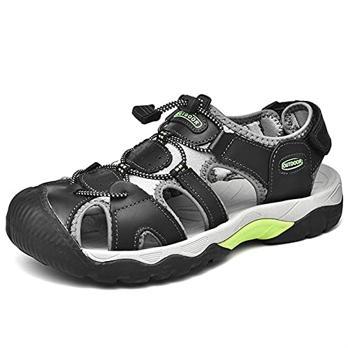 Playa de cuero genuino Sandalia para hombres Acero Cerrar dedo del pie Zapatos al aire libre Cortado Slip en sandalias deportivas resistentes a resistencia flexibles. ( Color : Black , Size : 39 EU )