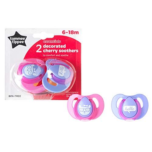 Tommee Tippee Essential Basics Decorato Cherry Soothers 6-18 mesi (confezione da 2), ciuccio gratuito BPA, ragazze