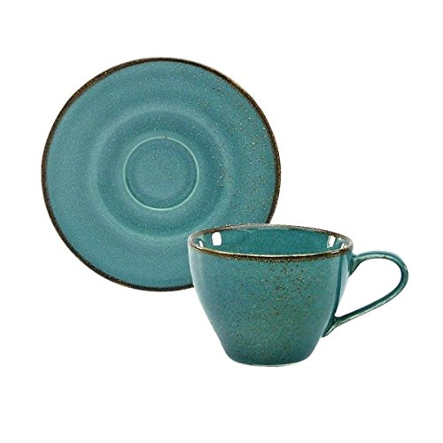 Kaffeetasse Teetasse Cappuccinotasse + Untertasse NATURE COLLECTION | Steinzeug | Water -Blau | 200 ml