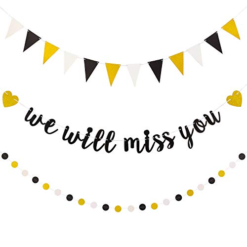 3 Stücke We Will Miss You Banner Schwarz Weiß Funkeln Gold Punkt Girlande & Dreieck Flagge Banner für Ruhestand Abschluss Weggehen Party