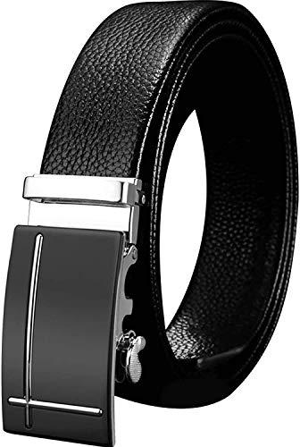 ベルト メンズ ビジネス オートロック式 紳士 ベルト 穴なし 本革 おしゃれ カジュアル 祝いギフトBOX付 ブラック 115cm