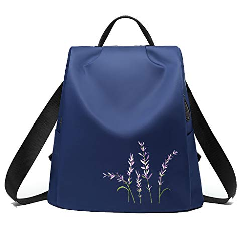 C&S CS Outdoor Sports Rucksack weibliche minimalistischen Blumen Stickerei Anti-Diebstahl Wasserdichte Oxford Stoff Umhängetasche (Color : Blue)