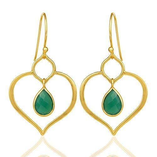 Gold Plated specialty shop 925 Silver Green security Onyx Earrings for Dangle Gemstone W