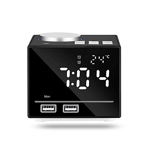 CHICAI Numérique Radio-réveil, Haut-Parleur Bluetooth Double Alarme Nuit avec veilleuse, Snooze, température et 2 Ports USB Port de Charge, Grand Dimmable LED Display