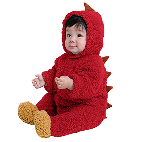 MRULIC Säugling Baby Playsuit Mädchen Jungen Overall Walkanzug Herbst und Winter Langarm Flauschig mit Kapuze Pullover Jumpsuit Outfits Outwear Babysachen(A-rot,75-80CM)