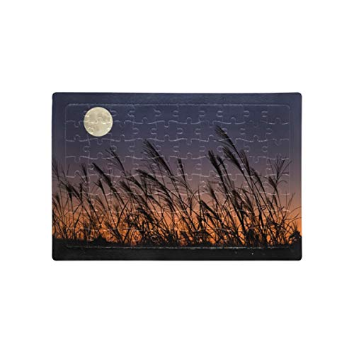 Jigsaw Puzzles Harvest Moon Japanese Pampas Grass Kids Adult Piece Jigsaw Puzzle Educational Intellectual Decompressing Fun Family Game