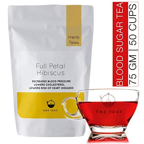 Ono Teas Full Petal Hibiscus Flower Loose Leaf Tea | Reduces Blood Sugar & Blood Pressure, Lowers Cholesterol, Aids Blood Circulation | Used for Ice Teas, Mocktails, Cocktails, Syrups (75 gm | 50 cup)