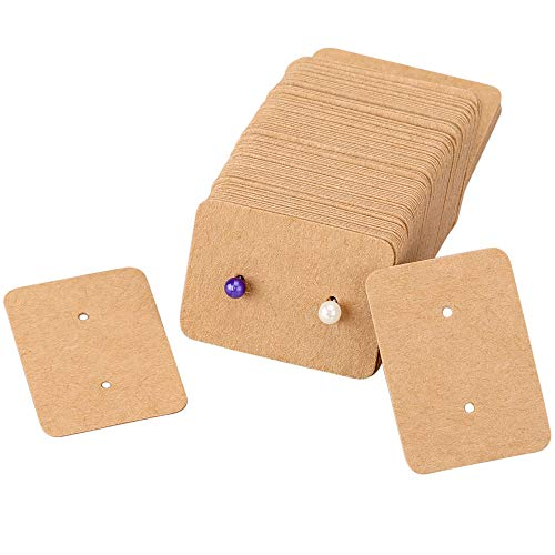 200 etiquetas de papel kraft para pendientes, 2,5 cm x 3,5 cm, rectangulares para bodas (marrón)