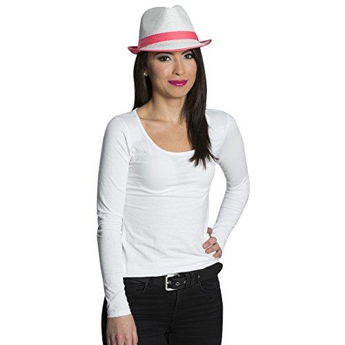 NET TOYS Fedora Hut Neon Strohhut pink Sommer Party Trilby Strand Partyhut Faschingshut Kopfbedeckung Schlager Mottoparty Accessoire Karnevalskostüme Zubehör
