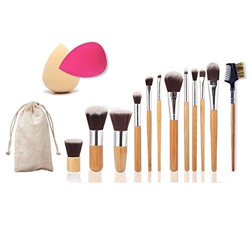 11pcs Pinceaux de Maquillage + 1pcs Sourcil Brosse + 2pcs Cosmétique Fondation Eponge