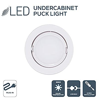 Nadair LED 120V Direct Voltage Puck Light, 3000K Warm White, Surface Mount or Recessed Mount, Daisy Chain, ETL Listed