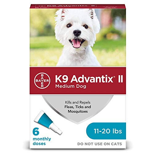 Bayer Animal Health K9 Advantix II Flea And Tick Prevention for Dogs, Dog Flea And Tick Treatment for Medium Dogs 11-20 lbs, 6 Monthly Applications