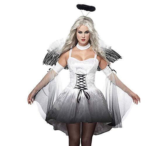 Amatop Fallen Angel Cosplay Kostüm, Damen Spitze Sexy Dark Angel Halloween Kostüm Devil Fairy Wings Kostüm Kostüm Maskerade Karneval Party Ball