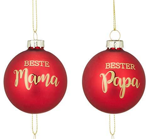 2er Set Weihnachtskugel Christbaumschmuck Kugeln Mama Papa Weihnachten Deko Geschenk Anhänger (2er Set Mama und Papa)